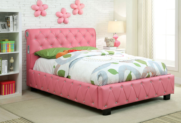 Juilliard CM7056PK-T Contemporary Pink Padded Leatherette Twin Bed