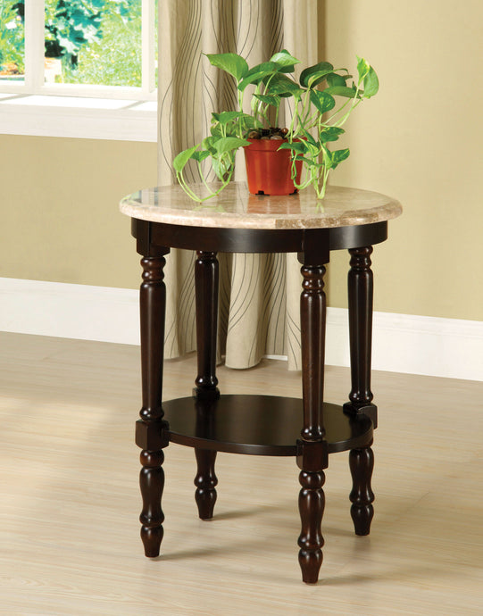 Furniture of America CM-AC786 Santa Clarita Dark Cherry Oval Top Stand