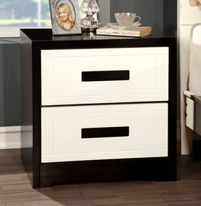 Furniture of Ameirca CM7292 Rutger Contemporary White Black Nightstand