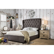 Load image into Gallery viewer, Furniture Of America Fontes Gray Padded Flax Fabric Finish Queen Bed