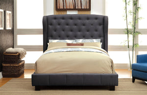 Furniture Of America Fontes Gray Padded Flax Fabric Finish Queen Bed