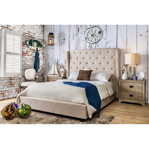 Furniture Of America Fontes Ivory Padded Flax Fabric Finish Queen Bed
