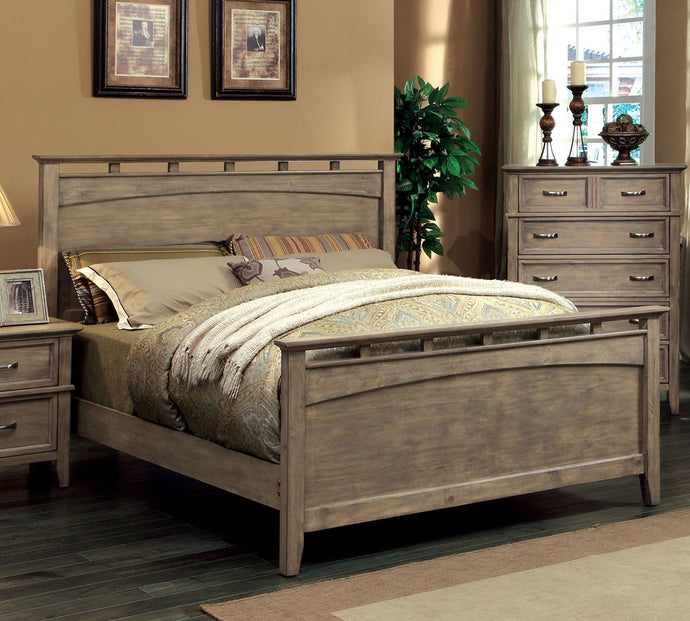 Furniture of America Loxley Weathered Oak Wood Finish California King Panel Bed