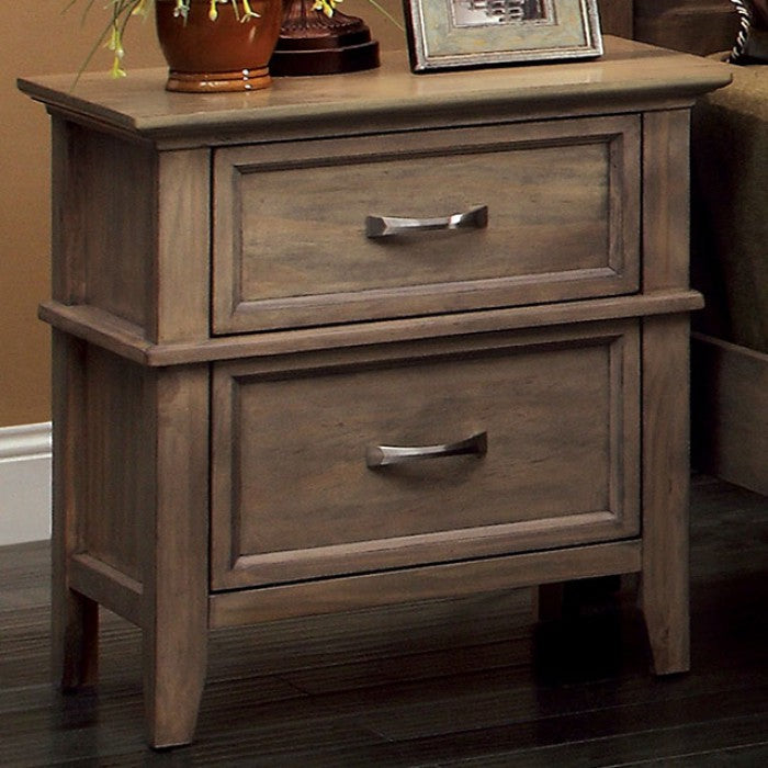 Furniture Of America Loxley Weathered Oak Felt-Lined Top Drawers Nightstand