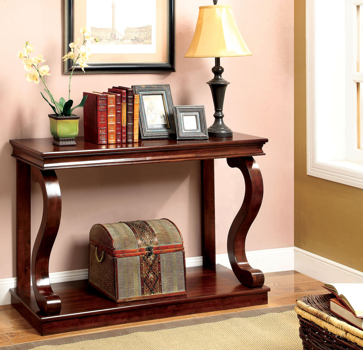 Furniture of America Geelong Cherry Wood Finish Console Table
