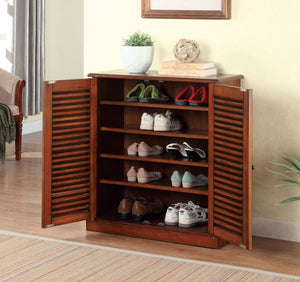 Furniture of America Della Dark Oak Wood Finish Shoe Cabinet