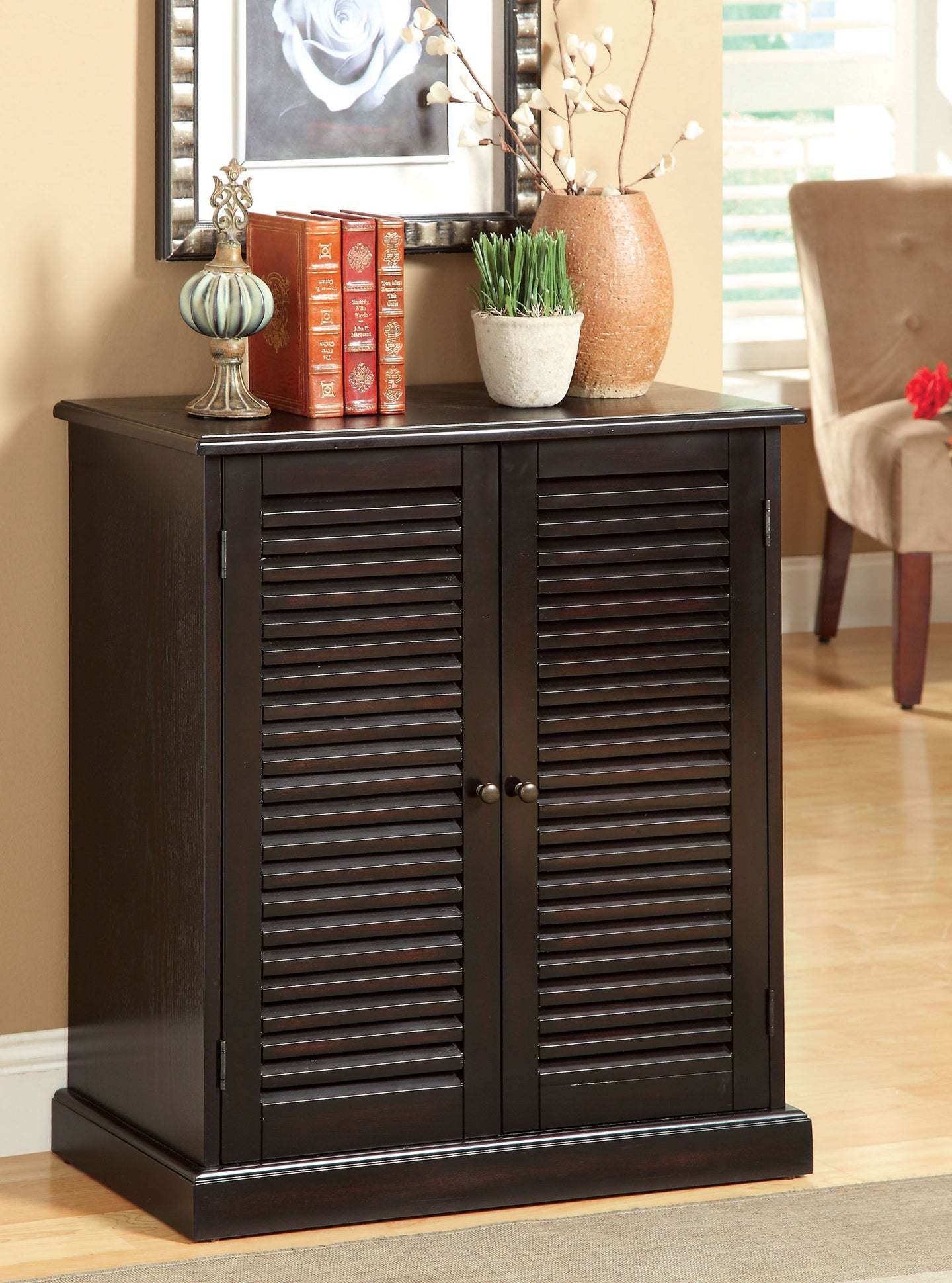 Furniture of America Della Espresso Wood Finish Shoe Cabinet