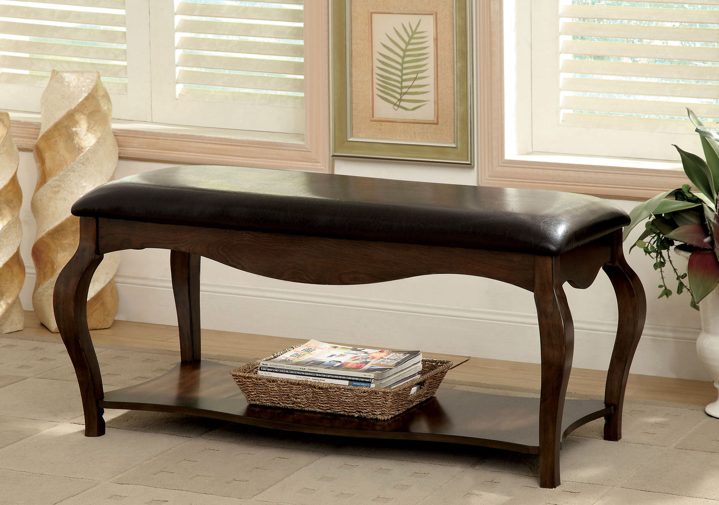 Furniture of America CM-BN6013 Enderby Tobacco Oak Bench