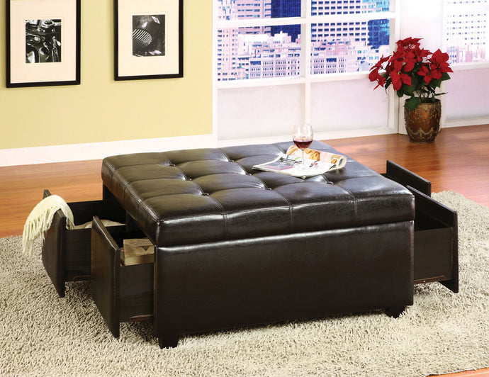 Furniture Of America Petula Espresso Leatherette Storage Ottoman