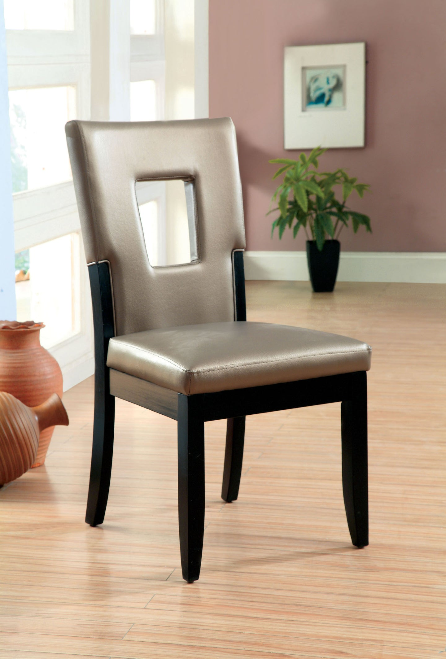 Furniture Of America Evant I Black Leather And Wood Finish 2 Piece Side Chair