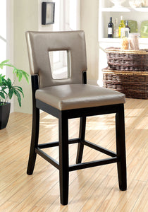 Furniture Of America Evant II Black Leather And Wood Finish 2 Piece Counter Height Chair