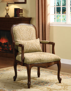 Furniture of America Watervile Dark Cherry Wood And Fabric Finish Accent Chair