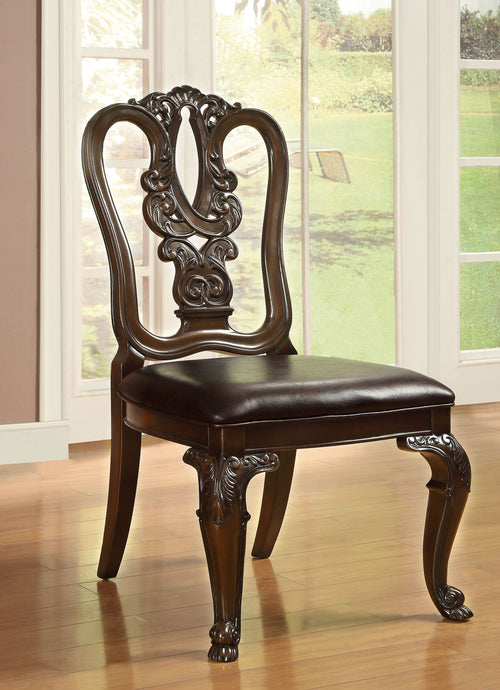 Furniture Of America Bellagio Brown Cherry Wood Finish 2 Piece Dining Chair