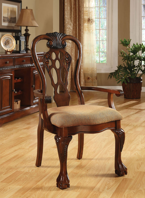 Furniture of America George Town Cherry Wood Finish 2 Piece Arm Chair