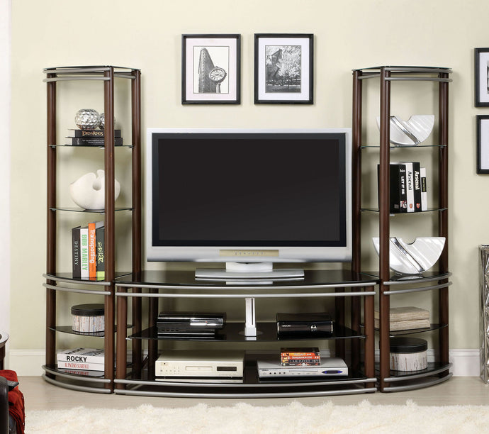 Furniture Of America Silver Creek Brown Wood Finish 3 Piece Entertainment Set