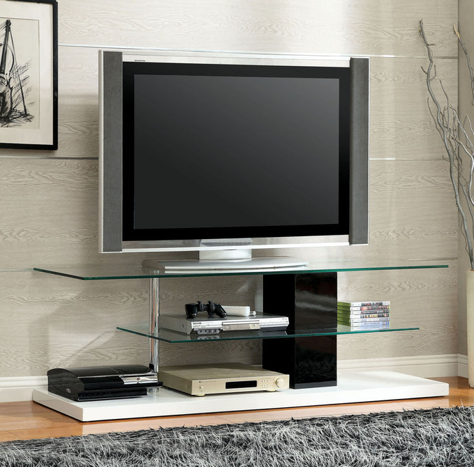 Furniture of America Neapoli Black And White Wood Finish TV Console