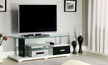Load image into Gallery viewer, Furniture of America Egaleo Black And White Wood Glass Top Finish TV Console