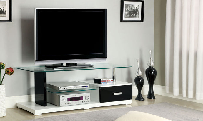 Furniture of America Egaleo Black And White Wood Glass Top Finish TV Console