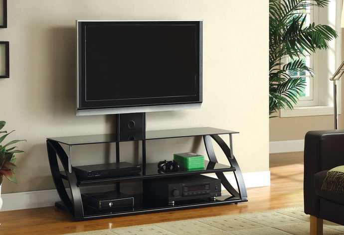 Furniture of America Adella Black Chrome Glass Top Finish TV Console