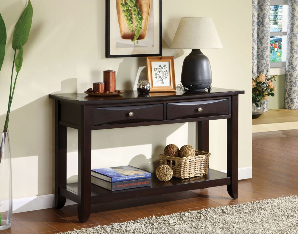 Furniture of America Baldwin Contemporary Espresso Wood Finish Sofa Table