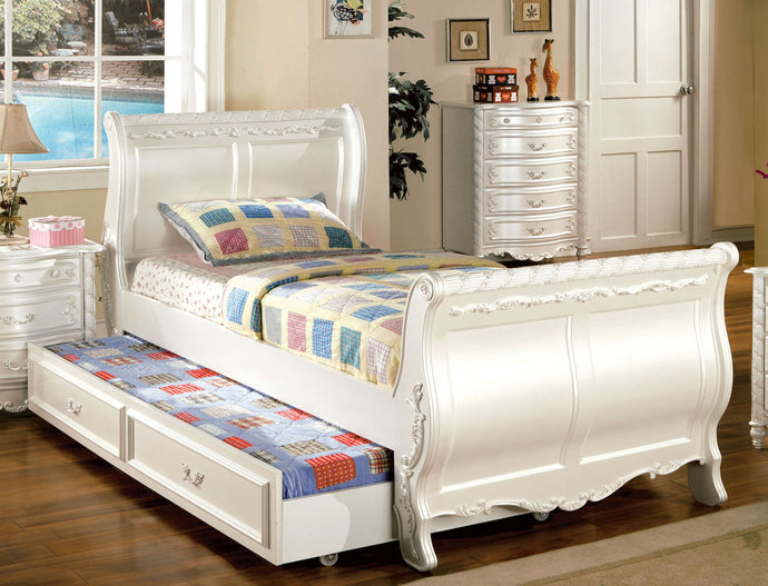 Alexandra CM7226F CM7226CTR Transitional Pearl White Full Trundle Bed