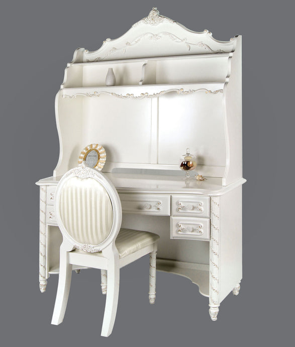 Alexandra CM7226DK Transitional Pearl White Desk Hutch Chair Set