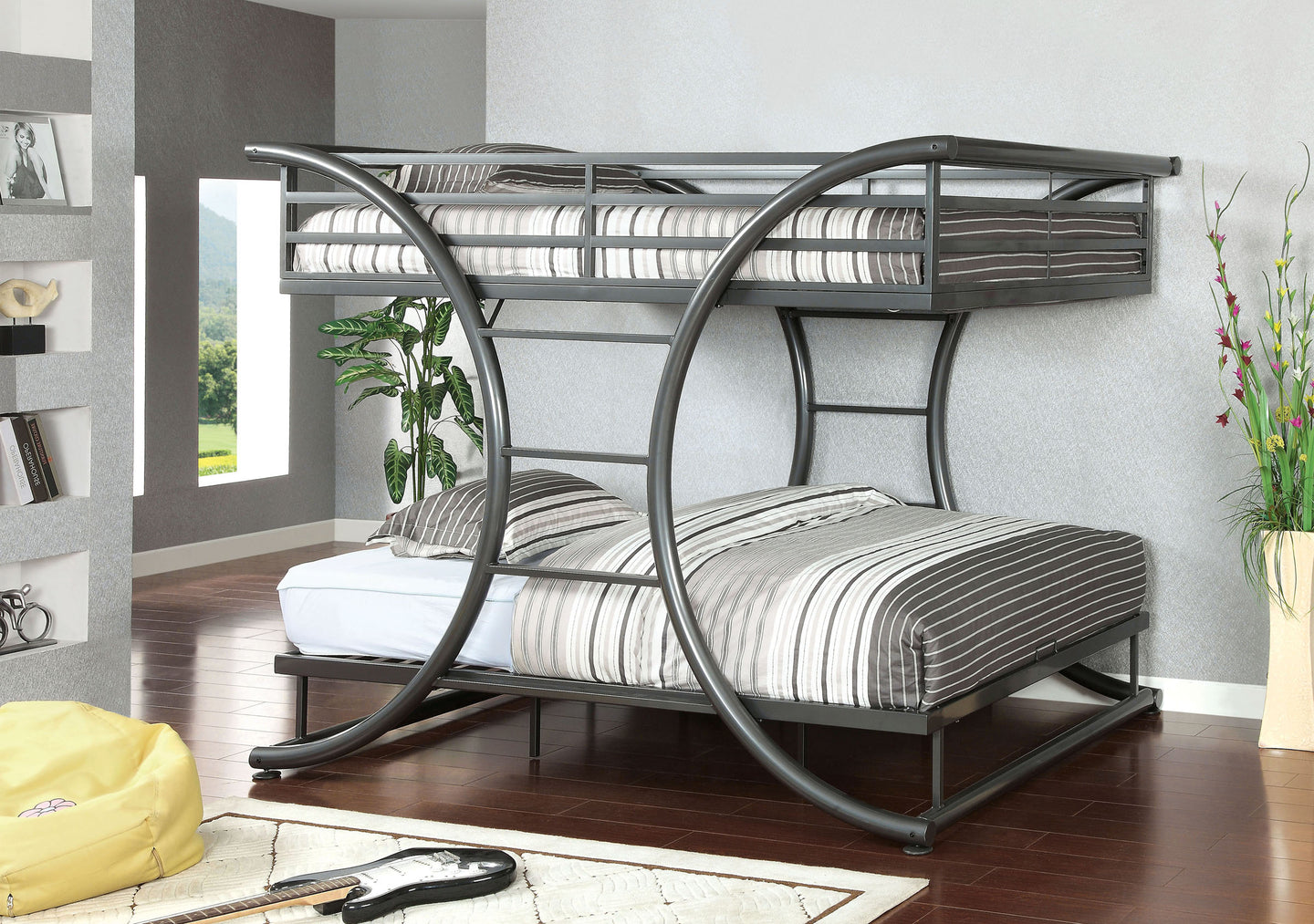 Lexis CM-BK1036GM Gun Metal Full Over Full Bunk Bed