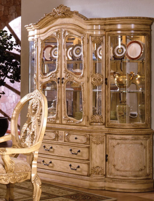 Furniture of America Tuscany Antique White Wood And Glass Finish Hutch Buffet