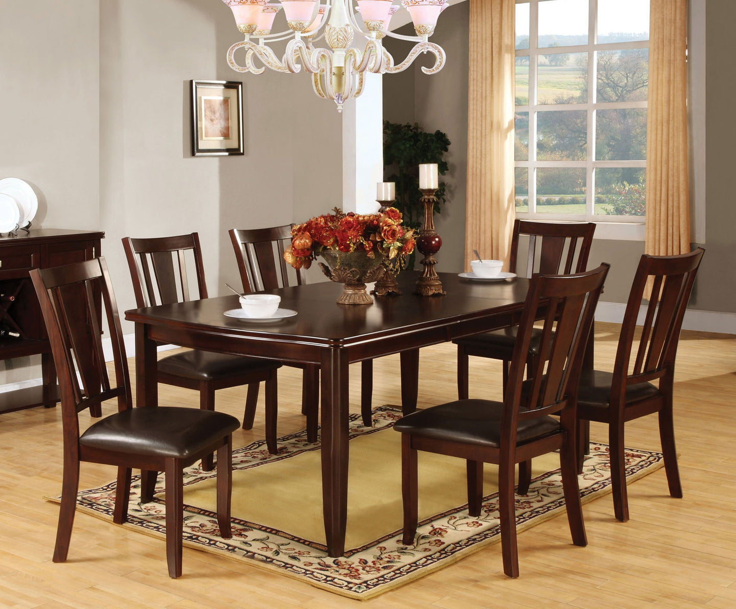 Furniture Of America Edgewood I Espresso Wood Finish 7 Piece Dining Table Set