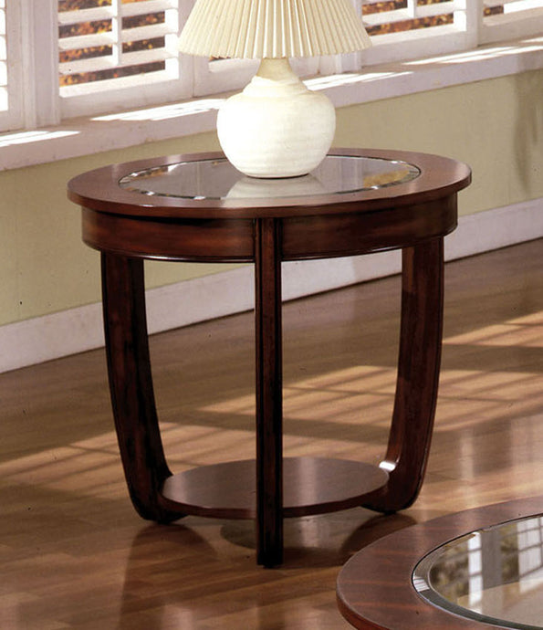Furniture of America Crystal Falls Dark Cherry Wood And Glass Top Finish End Table