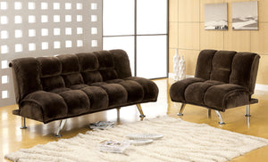 Marbelle 2 Pieces Dark Brown Champion Fabric Futon Sofa Chair Set
