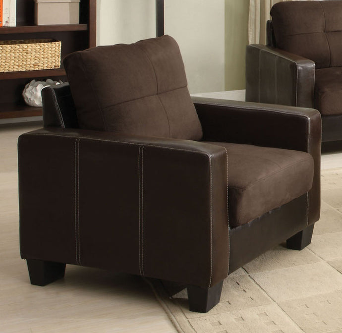 Furniture Of America Laverne Chocolate Leatherette And Wood Finish Chair