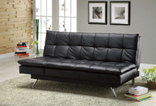 Load image into Gallery viewer, Hasty CM2750 Contemporary Black Leatherette Futon Sofa Bed