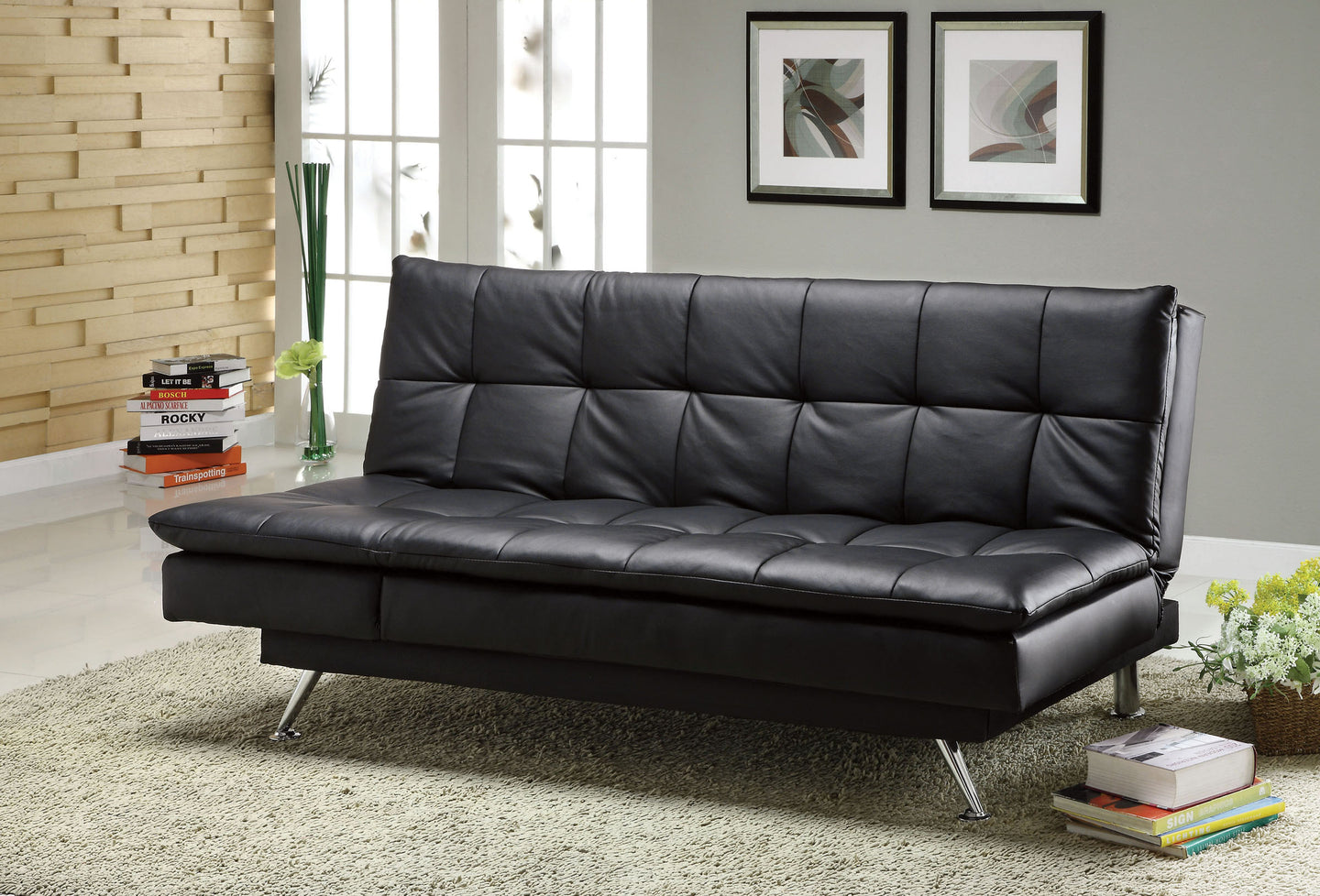 Hasty CM2750 Contemporary Black Leatherette Futon Sofa Bed