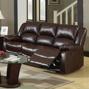 Furniture Of America Winslow Rustic Brown Bonded Leather Match Recliner Sofa
