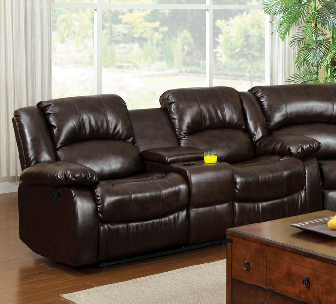 Winslow CM6556L-CT Rustic Brown Finish Love Seat with Center Console