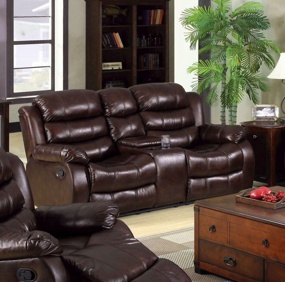 Furniture Of America Berkshire Rustic Brown Leather-like Center Console Recliner Loveseat