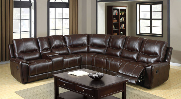 Furniture Of America Keystone Brown Bonded Leather Match 3 Recliners Sectional Sofa