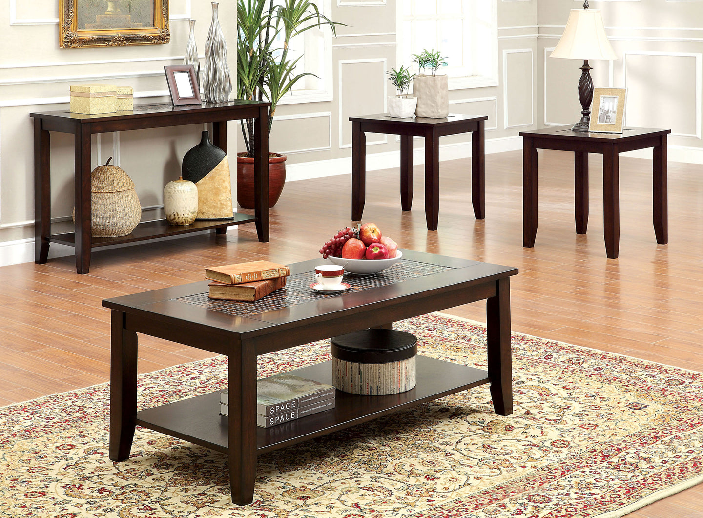 Furniture of America Townsend III Dark Cherry Wood Finish 3 Piece Coffee Table Set