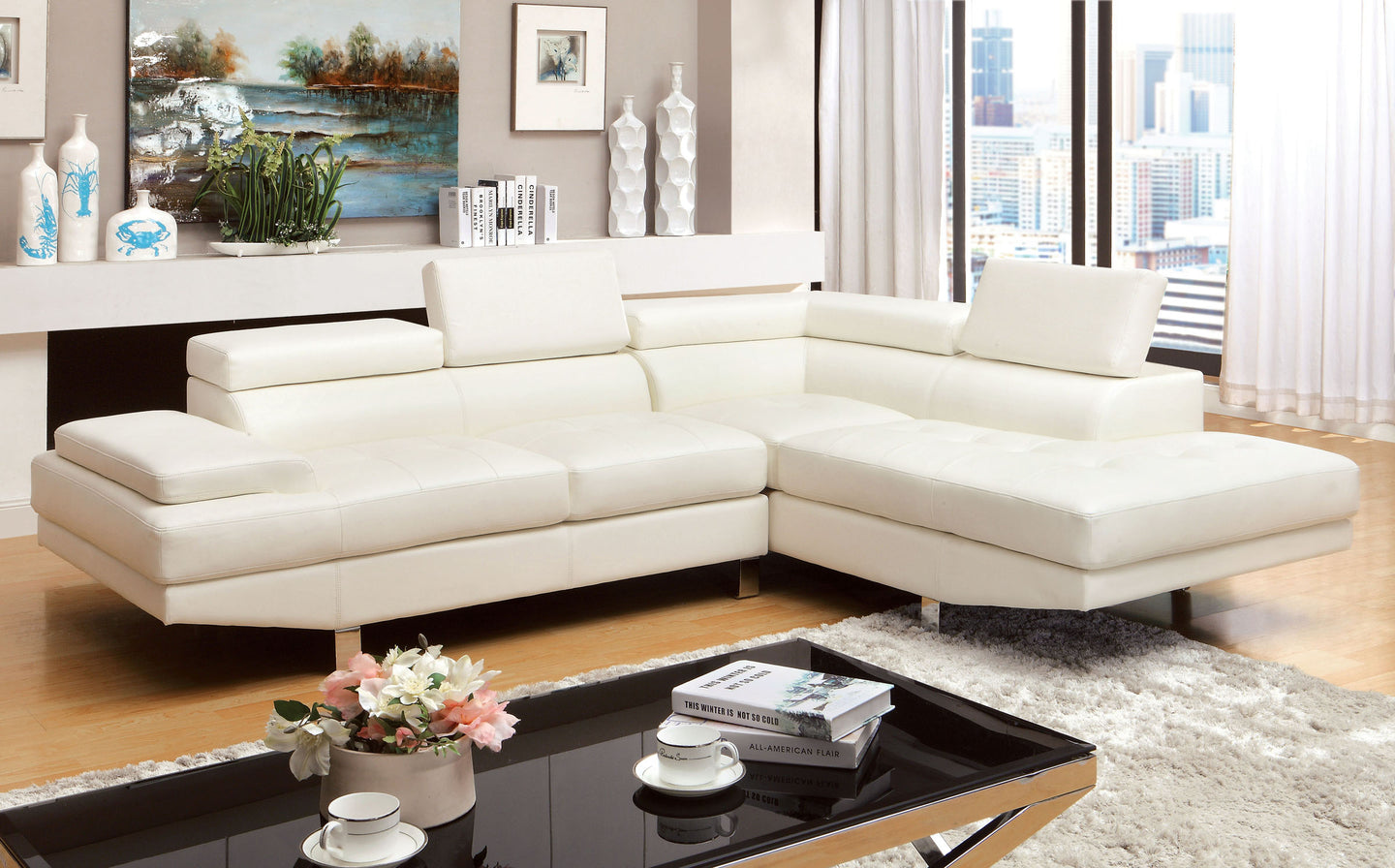 Furniture Of America Kemina White Bonded Leather Finish Sectional Sofa Couch