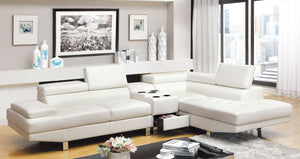 Furniture Of America Kemina White Bonded Leather Finish Sectional Sofa With Center Console