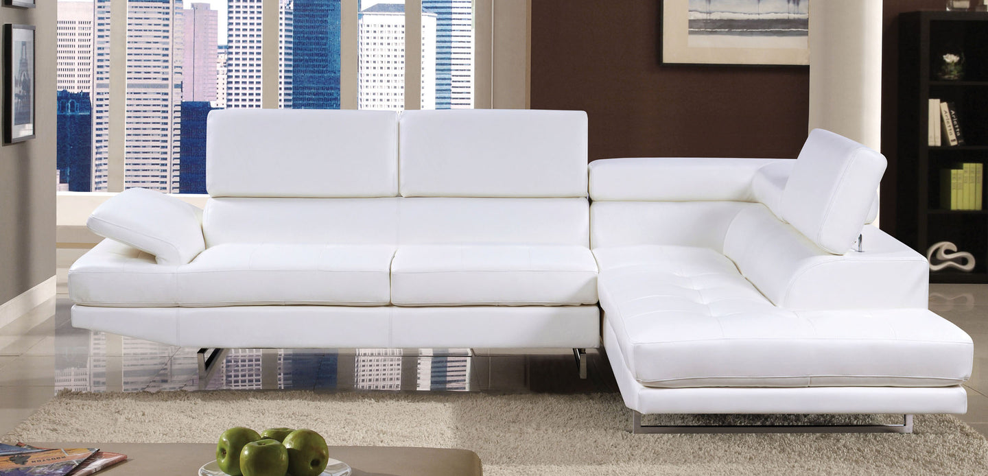 Furniture Of America Kemi White Bonded Leather Finish Sectional Sofa Couch