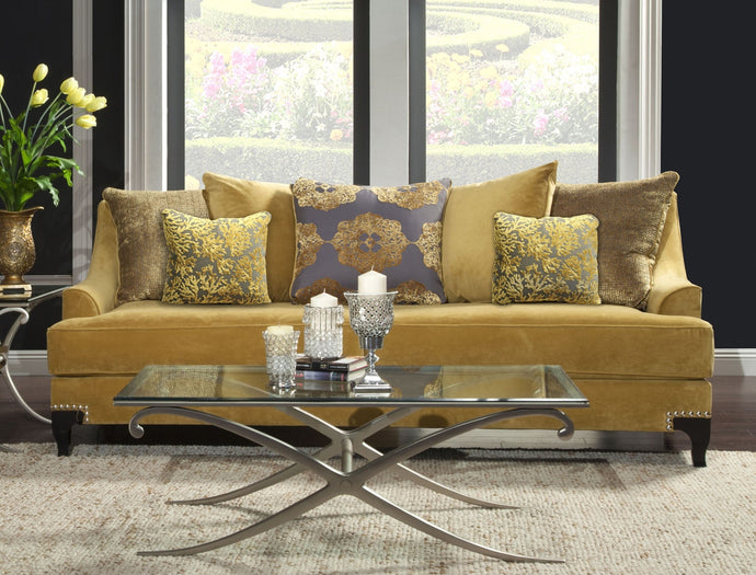 Furniture Of America Viscontti Gold Fabric And Wood Finish Sofa Couch