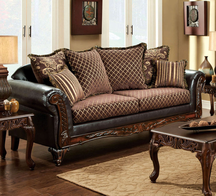 San Roque SM7635-SF Traditional Fabric Leatherette Sofa Couch