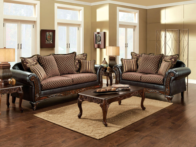 San Roque 2 Pieces Traditional Fabric Leatherette Sofa Loveseat Set