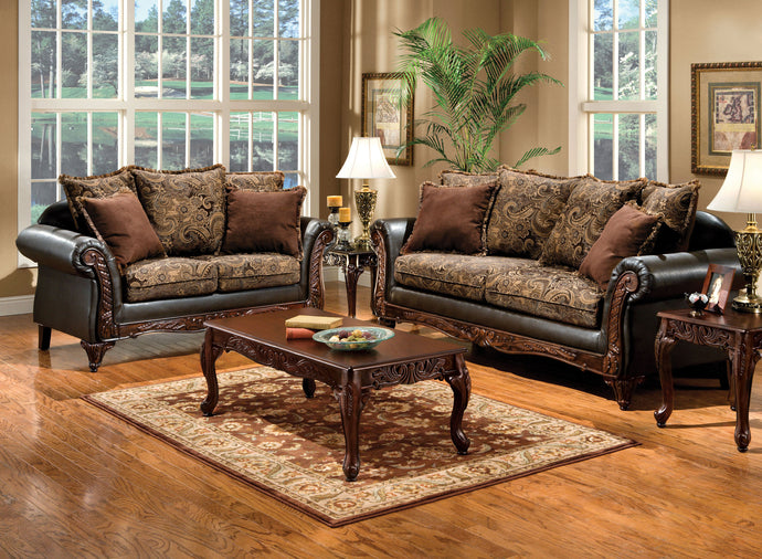 Rotherham SM7630 2 Pieces Traditional Fabric Leatherette Sofa Set