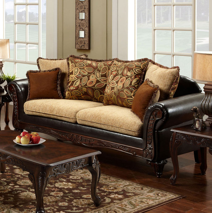 Furniture Of America Doncaster Tan Fabric Finish Sofa Couch