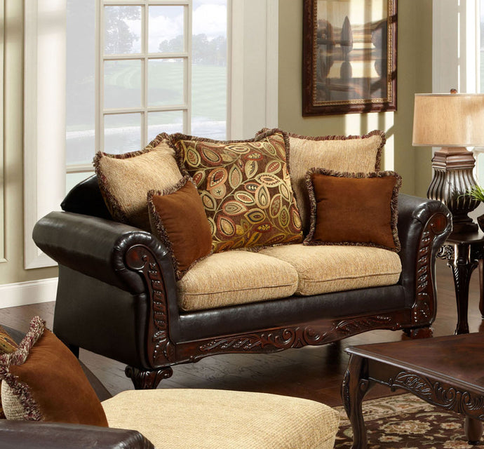 Furniture of America SM7430-LV Doncaster Traditional Two Tone Loveseat
