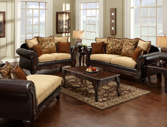 Doncaster SM7430-SF SM7430-LV Traditional Two Tone Sofa Loveseat Set