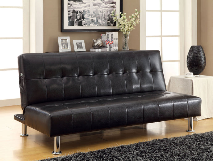 Furniture Of America Bulle Black Leatherette Finish Futon Sofa Bed